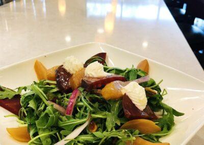Beet Arugula Salad with Goat Cheese & Honey Vinaigrette